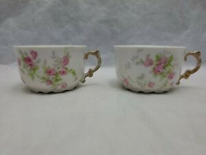 ANTIQUE LIMOGES CORONET Pastel Pink, Green & Gold Cups Lot of 2 FRANCE