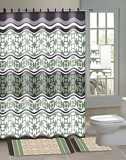 Laurel Green 15-Piece Bathroom Accessory Set 2 Bath Mats Shower Curtain 12 Rings