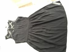 M & S Ladies Blvk Silky And Lace Dress Size 10 New