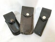 🔥lot of 3 Buck knives black leather folding hunting knife sheaths ONLY🔥