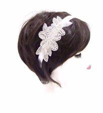 Silver White Flower Bridal Headband Wedding Headpiece Diamante Hair Band 2883
