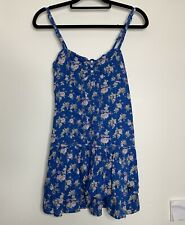 Abercrombie & Fitch Tunic Dress Size S Blue Floral strappy Tiered gypsy Boho