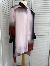 Reiss Dip Hem Longline Pink And Brown UK12 Shirt 3/4 Roll Up Sleeves