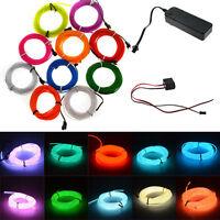 1/2/3/5m flash flessibile fluo EL striscia tubo neon luce filo + batteria case