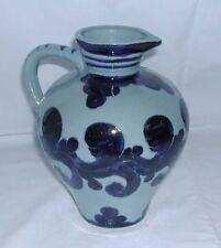 Vase / Karaffe / Kanne / Krug - Keramik mit blauer Verzierung - 19 cm hoch