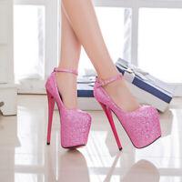Men's Pumps Drag Queen Glittering Crossdresser Heels Ankle Strap Shoes Plus Size