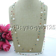 70'' Multi Color 4mm Faceted Agate 10mm White keshi Freshwater Pearl Necklace