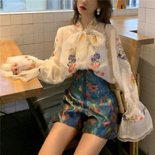 Women Blouse Shirt Top Chiffon Lace Floral Embroidery Sheer Puff Sleeve Bow