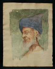 Portrait Orientalist/Watercolour On Basket/Period End XIX Beginning Xx Century