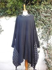 """LONG TUNIC DRESS QUIRKY PIXIE HOOD BLACK OS 50"""" BUST BNWT LAGENLOOK ETHNIC ARTY"""