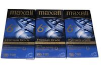 Lot Of 3 Maxell Premium Grade Blank T-120 6 Hour VHS Video Tapes Videocassette