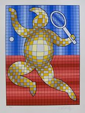"VICTOR VASARELY ""TENNIS PLAYER"" Hand Signed 1987 Limited Edition Art Serigraph"