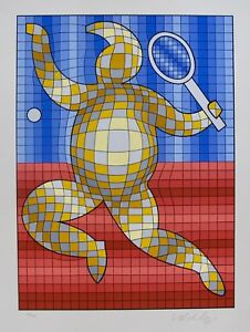 """VICTOR VASARELY """"TENNIS PLAYER"""" Hand Signed 1987 Limited Edition Art Serigraph"""