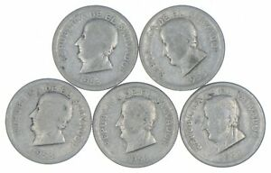 Lot of 5 El Salvador 1953 25 Centavos Silver Coin Lot - Rare one Year Issue *300
