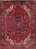 Vintage Geometric Red Heriz Oriental Hand-Knotted 10x13 Wool Area Rug
