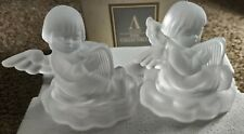 Avon 1995 Set Of (2) Hummel Frosted Angel W/Harp Candle Holders 24% Lead Crystal