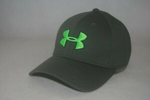 New Under Armour Blitzing II Men's Stretch Fit Green Hat 3D Embroidery Cap L/XL