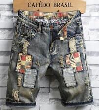 A02 Men's Summer Holes Denim Shorts Cowboy Retro beggar Short Jeans pants shorts