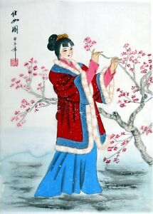 """Chinese silk painting beauty girl lady 15x11"""" small brush ink oriental asian art"""