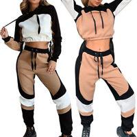 Women 2 Piece Loose Sports Set Outfit Crop Top Long Pants Workout Gym Tracksuits