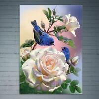 DIY White Rose Bird 5D Full Drill Diamond Painting Cross Stitch Kits