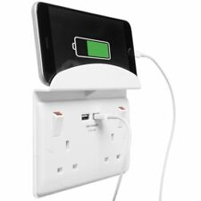 2 GANG 13A SWITCHED TWIN SOCKET WITH 2 USB CHARGER PORTS BG Nexus - White 822U/S