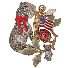 NEW KIRKS FOLLY MALCOLM THE CAT'S STAR SPANGLE BANNER PIN
