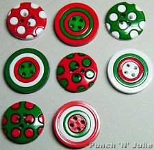 CHRISTMAS CIRCLES - Red Green White Polka Dot Novelty Dress It Up Craft Buttons