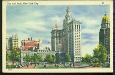 VIEW of CITY HALL PARK NEW YORK CITY VINTAGE LINEN POSTCARD NY