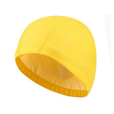 Silicone Solid Swimming Cap Elastic Swim Hats Waterproof PU Fabric Protect Hairs