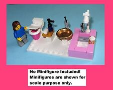 Pink Tiled Bathroom Toilet Shower Miniature Doll House WC - MADE OF LEGO BRICKS