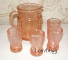 """Pink Princess 5pc Water Set Glasses for American Girl 18"""" Doll Accessory LOVV IT"""