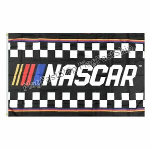 NASCAR Checkered Flag 3'x5' Racing Man Cave Banner Sign Fast FREE Shipping 2021