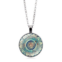 Mandala Flower Photo Cabochon Glass Tibet Silver Plated Chain Necklace Jewelry