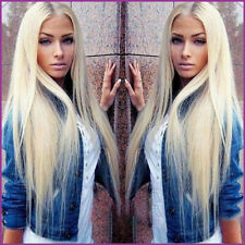 Women Long Straight Full Wig Halloween Wig Synthetic Blonde Wigs for White Women