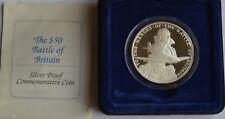 1990 50 Dollari Isole Marshall BATTAGLIA D'INGHILTERRA argento Proof Coin COA + VALIGETTA