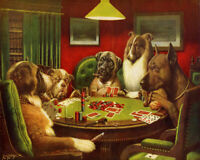 172112 Painting The Bluff Dogs Playing Poker Cards Decor LAMINATED POSTER DE