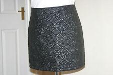 DP Womens BNWT Black PU Faux Leather Mini SKIRT uk12 eu38 us8 Waist w32in w81cm