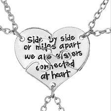 """3 Part """"BEST FRIENDS"""" Puzzle Heart Pendant Chain Necklace For Women"""