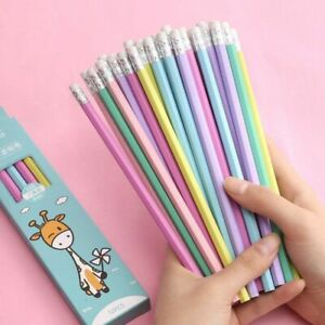 Wooden Pencil With Eraser 12PCS HB Cute Cartoon Pencils School Office Stationery