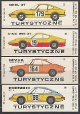 POLAND 1972 Matchbox Label - Cat.G#267/70 set, Matches Coach - racing cars.