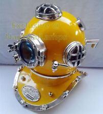 "Boston New U.S navy mark V 18""Diving Divers helmet deep sea chrome yellow finish"