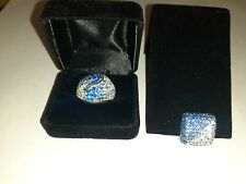 Sterling silver 925 ring 6,5 with the pendant Very bright blue crystals 20,2g