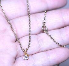 "vintage Solitaire Cubic Zirconia CZ Pendant Necklace Gold Plated Chain 18"" chain"