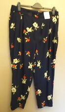 Marks & Spencer Twiggy for Classic UK16S EU44S US12S new black floral trousers