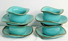 4 Southern Living At Home TUSCAN TOSCANA Robin's Egg Blue Tidbit Bowls & Saucers