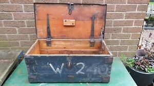 Nice old dovetailed wooden equipment storage box toolbox with metal banding