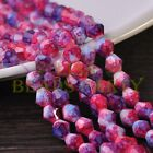 New 50pcs 6mm Bicone Faceted Glass Loose Spacer Colorized Beads Red&Blue