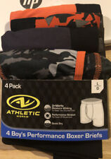 Boys Athletic Works Performance Boxer Briefs 4 Pack Size L 10-12  (new) Orange