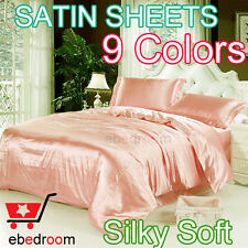 Satin Silky King Size Bed Pearl 4PC Sheet Set Hotel Bedding Linen